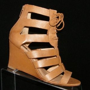 Schutz 'Fermine' brown leather lace up wedges 8.5B